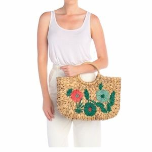 Nordstrom Straw Studios Embroidered Flower Tote